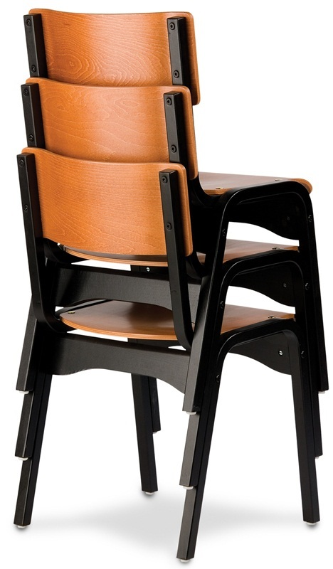 custom carlo armless stacking guest chair wood seat cfshsag