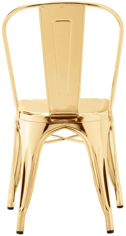 Dreux Chrome Gold Stackable Steel Armless Side Chair   Set Of 4  [LS 9000 CGLD DLM]