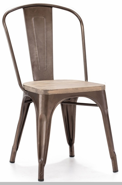 Dreux Stackable Rustic Matte Steel Side Chair With Light