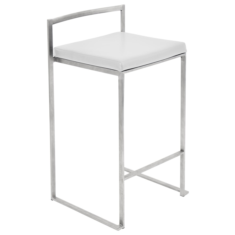 Fuji 27 39 39 H Stackable Armless Counter Stool With Stainless Steel Base And Leatherette Cushion
