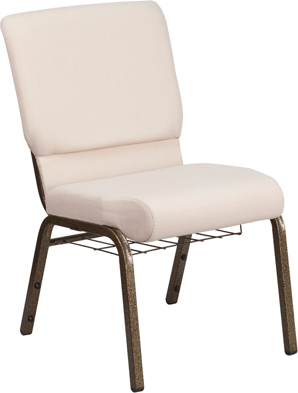 HERCULES Series 18.5u0027u0027W Church Chair In Beige Fabric With Cup Book Rack    Gold Vein Frame ...