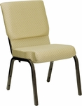 HERCULES Series 18.5''W Stacking Church Chair in Beige Patterned Fabric - Gold Vein Frame [XU-CH-60096-BGE-GG]