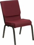 HERCULES Series 18.5''W Stacking Church Chair in Burgundy Patterned Fabric - Gold Vein Frame [XU-CH-60096-BYXY56-GG]