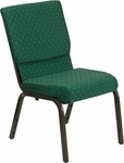 HERCULES Series 18.5''W Stacking Church Chair in Green Patterned Fabric - Gold Vein Frame [XU-CH-60096-GN-GG]