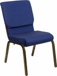 HERCULES Series 18.5''W Stacking Church Chair in Navy Blue Patterned Fabric - Gold Vein Frame [XU-CH-60096-NVY-DOT-GG]