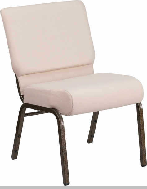 HERCULES Series 21W Stacking Church Chair in Beige Fabric Gold
