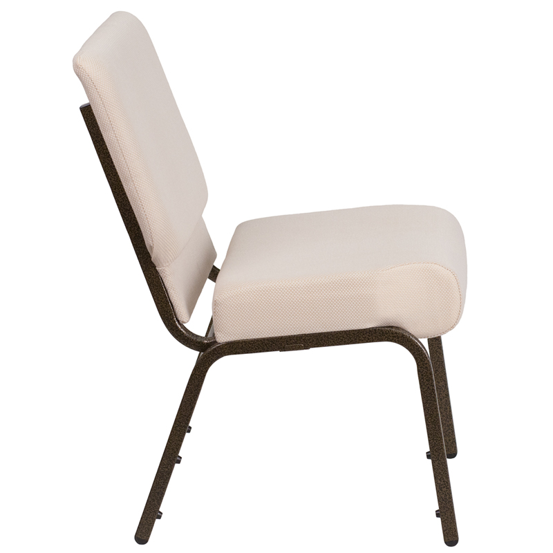 Series 21W Stacking Church Chair in Beige Fabric Gold Vein