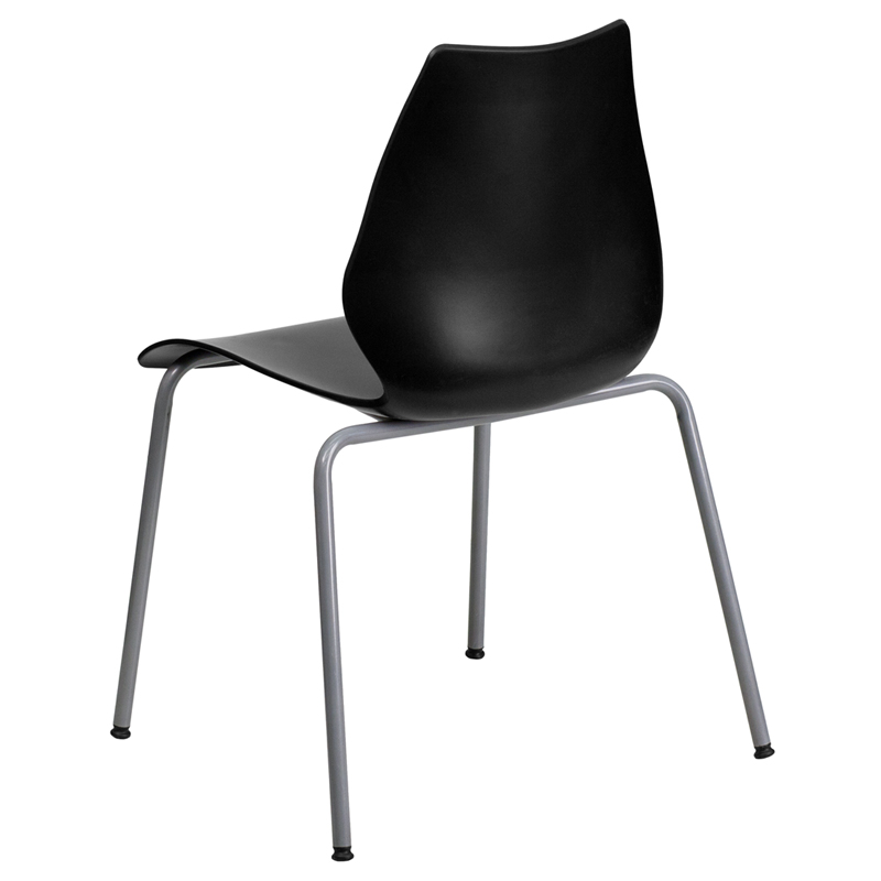 HERCULES Series 770 Lb. Capacity Black Stack Chair With Lumbar Support And  Silver Frame [RUT 288 BK GG]