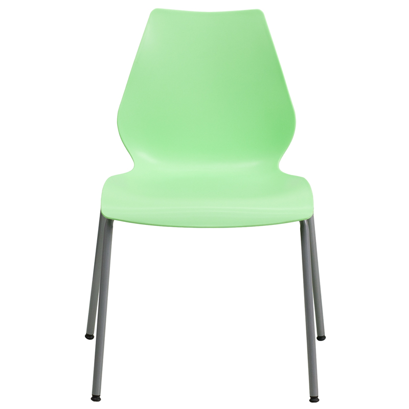 HERCULES Series 770 Lb. Capacity Green Stack Chair With Lumbar Support And  Silver Frame [RUT 288 GREEN GG]