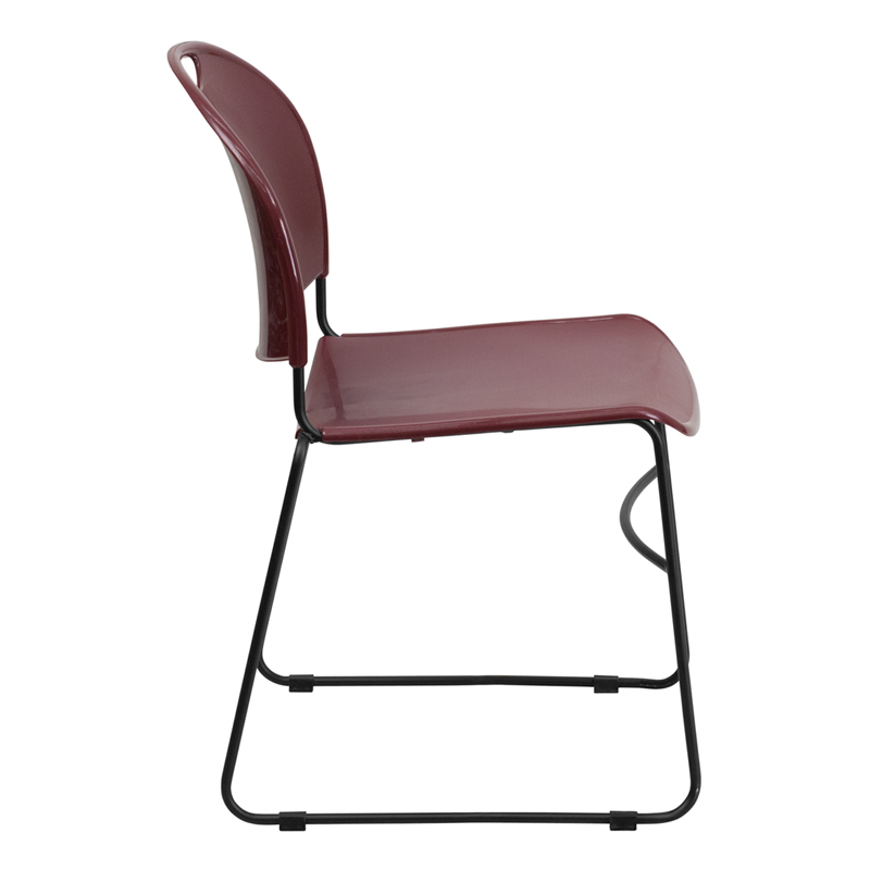 series 880 lb. capacity burgundy ultra compact stack chair with