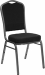 HERCULES Series Crown Back Stacking Banquet Chair in Black Patterned Fabric - Silver Vein Frame [FD-C01-SILVERVEIN-S076-GG]