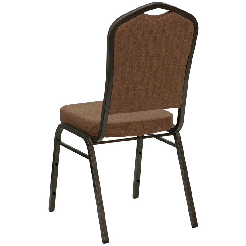HERCULES Series Crown Back Stacking Banquet Chair In Coffee Fabric   Gold  Vein Frame [NG C01 COFFEE GV GG]