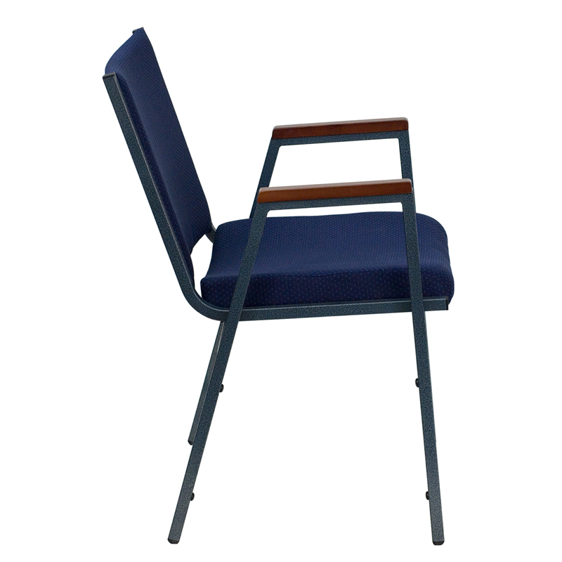 Hercules Stacking Chairs Series Heavy Duty Navy Blue Dot Fabric Stack Chair  With Arms [xu
