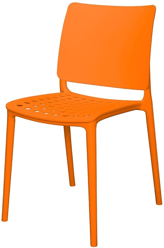 Marcay Resin Outdoor Stackable Armless Side Chair Orange SC 2604 162 ORN S