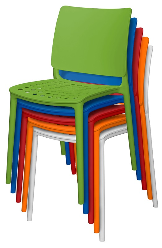 Resin Outdoor Stackable Armless Side Chair Orange SC 2604 162