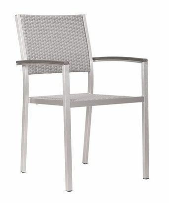 Dining Arm Chair in Brushed Aluminum 701865 FS ZUO