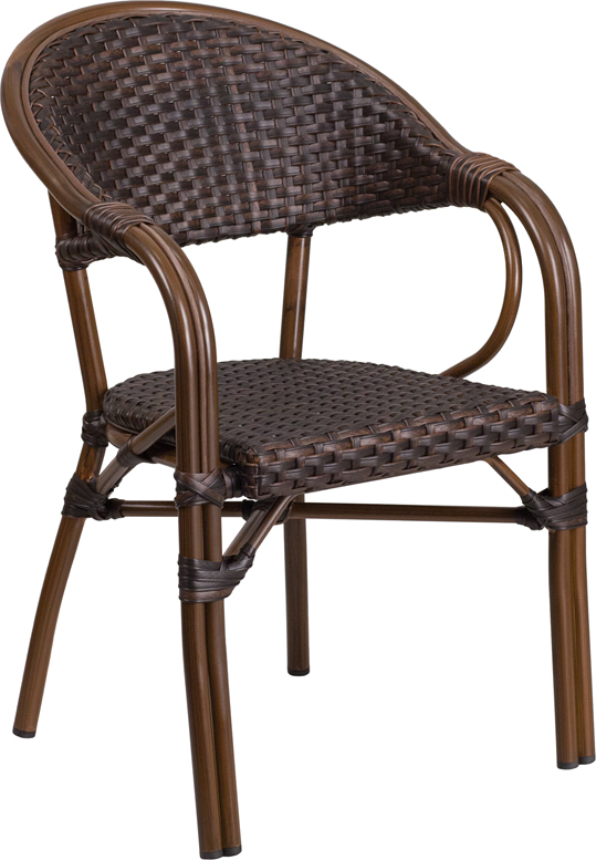 aluminum restaurant patio furniture. milano series dark brown rattan restaurant patio chair with red bamboo- aluminum frame [sda-ad642003r-2-gg] furniture m
