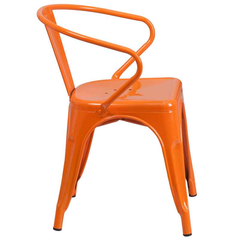 Orange Metal Indoor Outdoor Chair with Arms [CH OR GG]