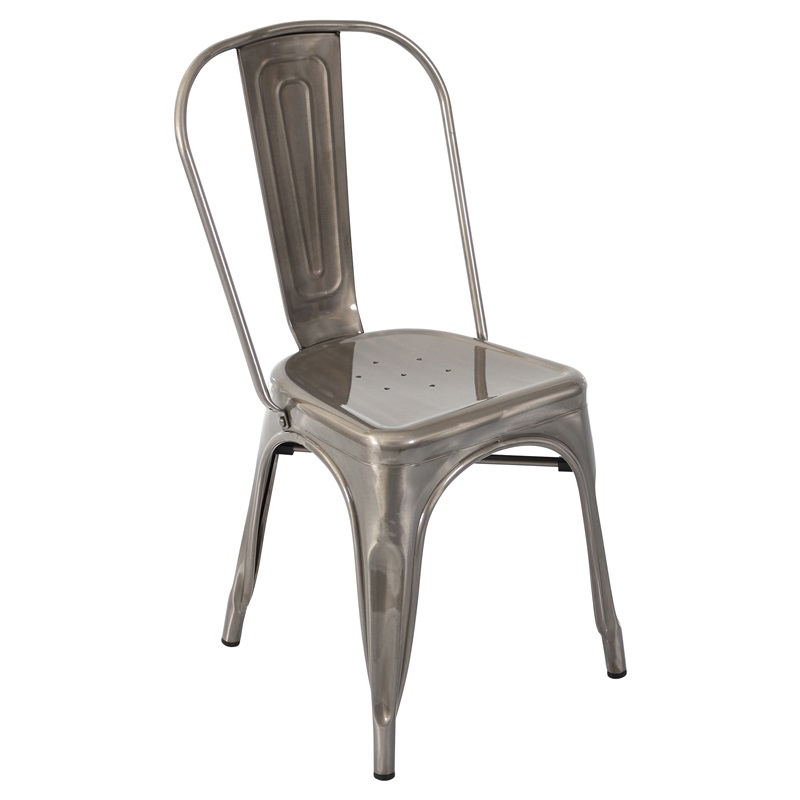 165H Stackable Steel Armless Dining Chair Set of 2 Silver
