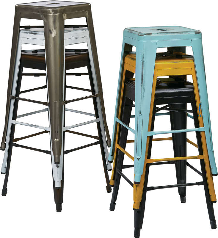 OSP Designs Bristow Backless Antique Metal Barstools 2 Pack Antique Sky Blue BRWA2 ASB FS OS