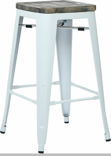 OSP Designs Bristow 26'' Metal Barstool with Wood Seat - Set of 2 - Antique  White and Vintage Ash Crazy Horse [BRW312611A2-C306-FS-OS] - OSP Designs Bristow 26'' Metal Barstool With Wood Seat - Set Of 2