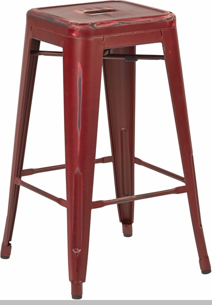 osp designs bristow backless metal barstools set of 2 antique red