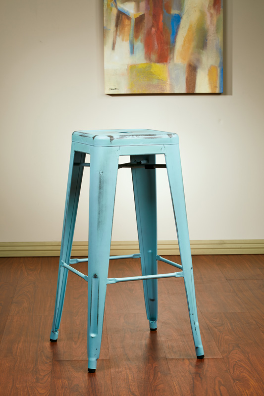osp designs bristow backless antique metal barstools 2pack antique sky blue finish