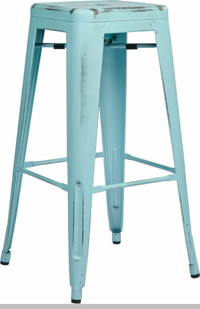 OSP Designs Bristow Backless Antique Metal Barstools 2 Pack Antique Sky Blue Finish BRWA2 ASB FS OS