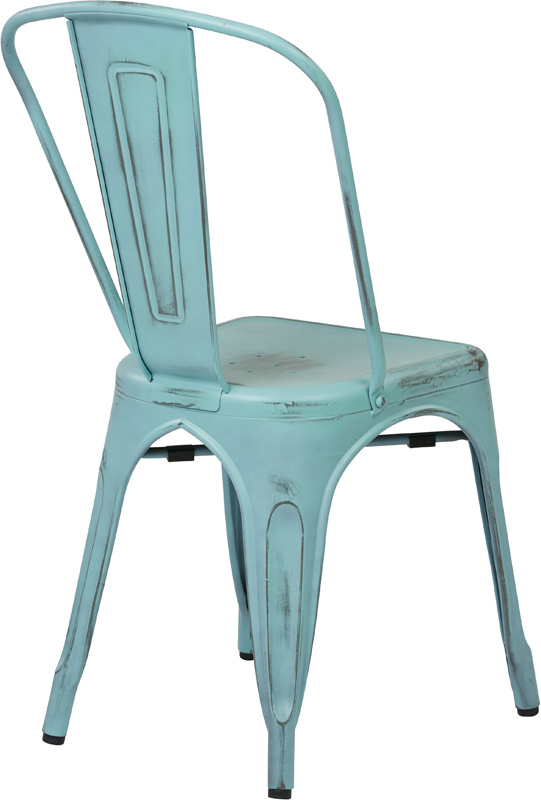 OSP Designs Bristow Stackable Armless Metal Chair   Set Of 2   Antique Sky  Blue [BRW29A2 ASB FS OS]