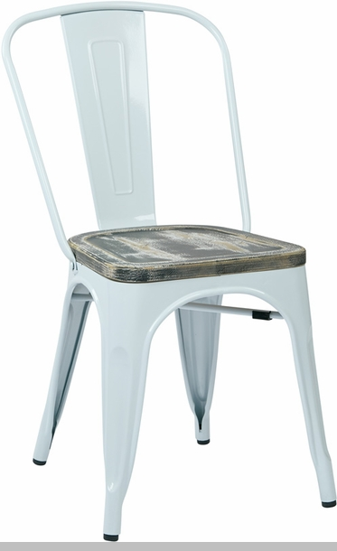 OSP Designs Bristow Metal Chair with Wood Seat 4Pack Black