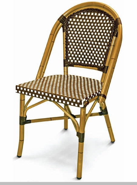 Cafe collection arm chair with woven back and seat white