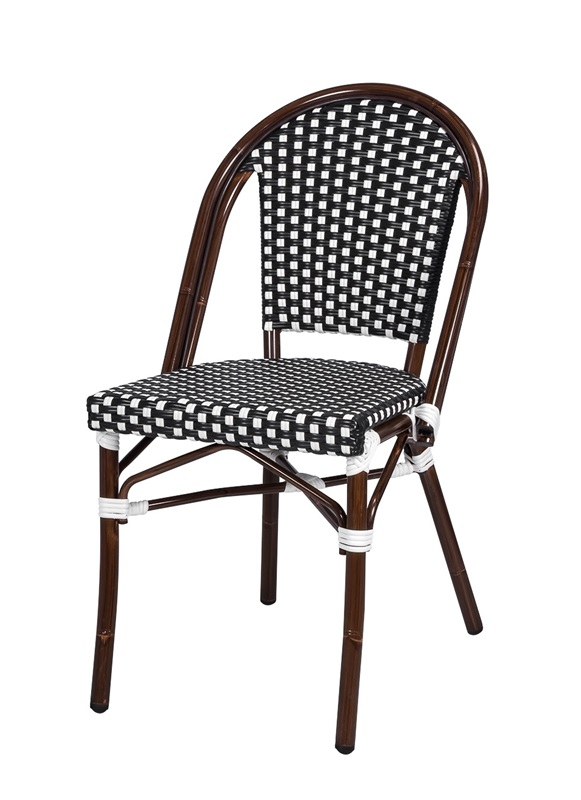 Paris Indoor/Outdoor Stackable Armless Side Chair With Dark Bamboo Aluminum  Frame   Black And White ...