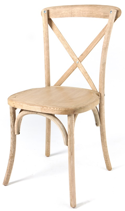Rustic Sonoma Solid Wood Cross Back Stackable Dining Chair   Tinted Raw  [W 700 X02 CSP]