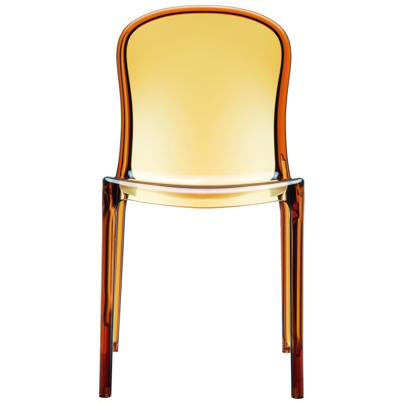 Superb Awesome Victoria Modern Outdoor Polycarbonate Stackable See Through Dining Chair  Transparent Amber [ISP033 TAMB FS