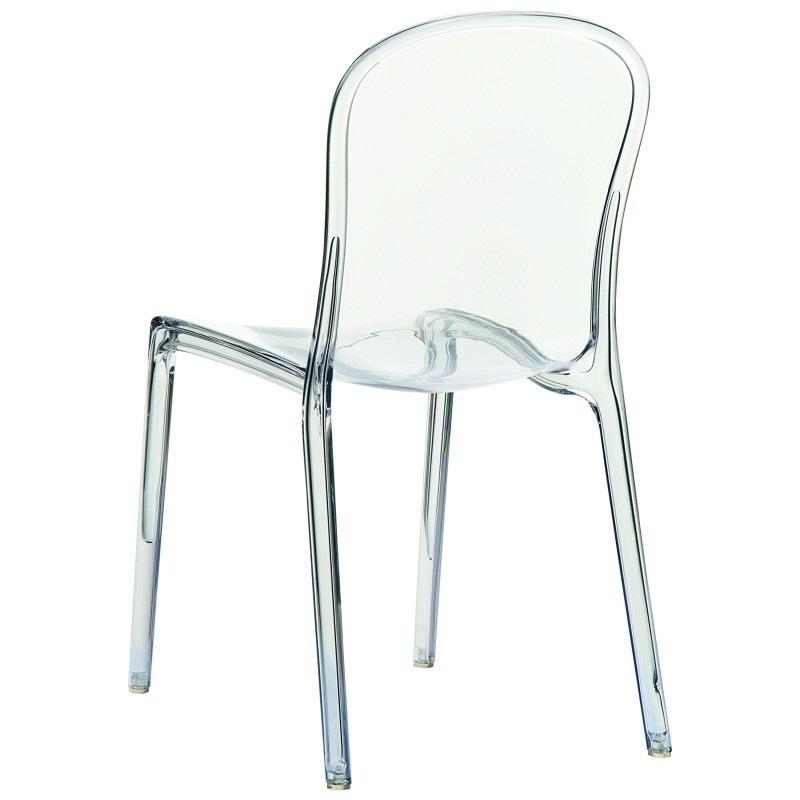 Victoria Modern Outdoor Polycarbonate Stackable See Through Dining Chair    Transparent Clear [ISP033 TCL FS CMP]
