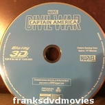 Captain America: Civil War Blu-ray 3D Only With Original Artwork and Slipcover (USED)