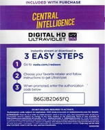 Central Intelligence HD Digital Ultraviolet UV Code
