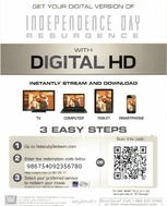 Independence Day Resurgence HD Ultraviolet UV or iTUNES Code (ONLY 10 LEFT AT THIS PRICE)