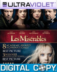 Les Miserables SD UltraViolet UV Code + Digital Copy