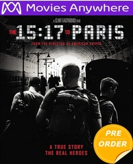 The 15:17 To Paris HD UV or iTunes Code     (PRE-ORDER WILL EMAIL ON OR BEFORE 5-22-18 AT NIGHT)