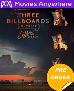 Three Billboards Outside Ebbing, Missouri HD UV or iTunes Code     (PRE-ORDER WILL EMAIL ON OR BEFORE 2-27-18 AT NIGHT)