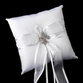 Ring Pillow with Sheer Organza with Silver Fleur De Lis Brooch