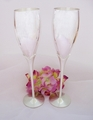 Silver Crystal Lily Wedding Toasting Champagne Flutes