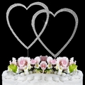 Swarovski Crystal Wedding Cake Topper ~ Double Large Silver Heart