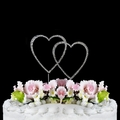 Swarovski Crystal Wedding Cake Topper ~ Double Small Silver Heart
