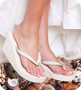 White High Wedge Bridal Flip Flops with Sequins & Crystals