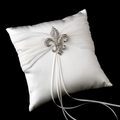 White Ring Pillow with Silver Fleur De Lis Brooch