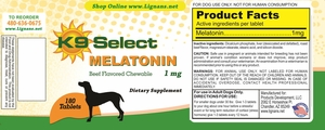 New! K9 Select Chewable 1 mg Melatonin for Dogs: Beef Flavor 180 Tabs