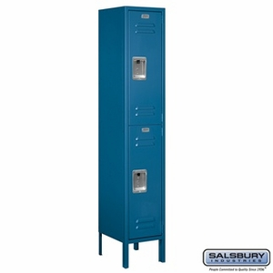 "12"" Standard Metal Locker - Double Tier - 1 Wide - 5 Feet High - 12 Inches Deep - Gray, Tan or Blue"