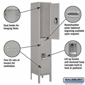 "12"" Standard Metal Locker - Double Tier - 1 Wide - 5 Feet High - 18 Inches Deep - Gray, Tan or Blue"